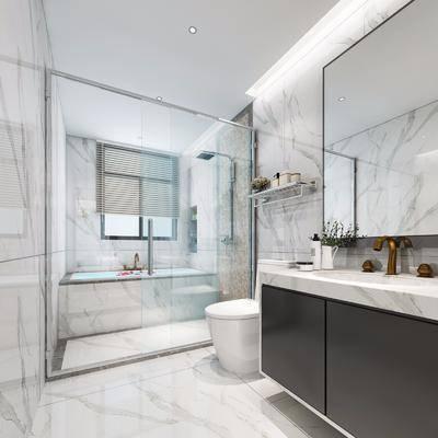 卫浴, 卫生间, 浴缸, 现代卫生间