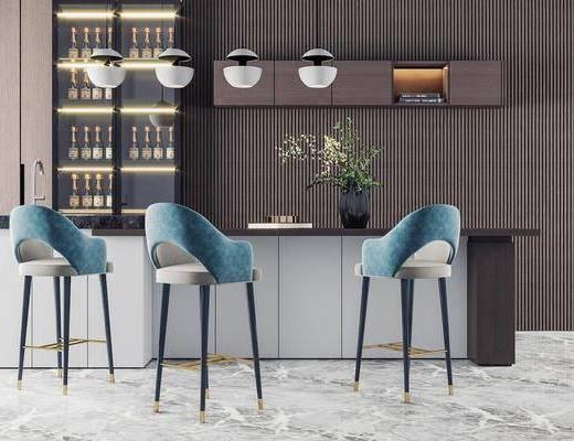 吧台, 吧椅, 植物, 酒柜