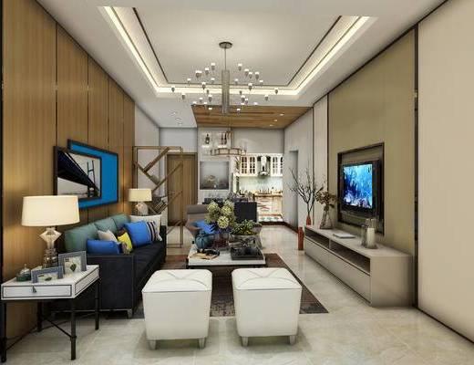 现代沙发, 现代客厅, 客厅, 沙发夬, 沙发茶几组合, 电视柜, 吊灯, 凳子