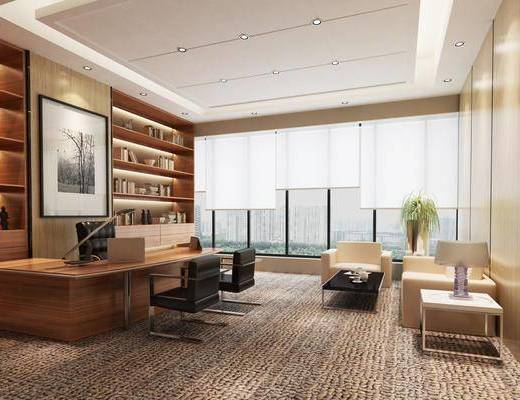 办公室, 办公桌, 办公椅, 单人椅, 双人沙发, 边几, 台灯, 茶几, 装饰画, 挂画, 书柜, 书籍, 现代