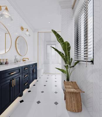 北欧, 卫浴, 卫生间, 洗手台, 镜子, 盆栽, 植物, 摆件, 沐浴小件, 壁灯, 浴缸