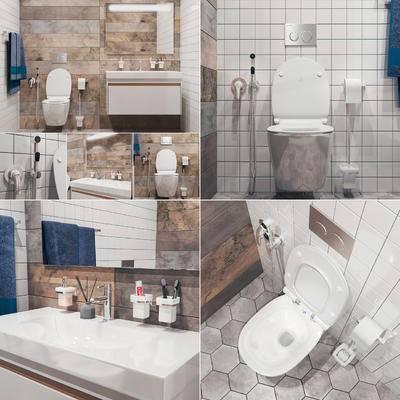 卫浴间, 马桶, 洗漱台, 洗浴用品, 卫浴砖, 坐厕, 卫浴小件, 毛巾, 毛巾架, 镜, 现代