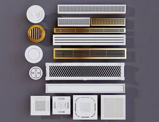 空调出风口, 换气扇, 筒灯, 中央空调音响, 喇叭, 消防烟感器, 现代