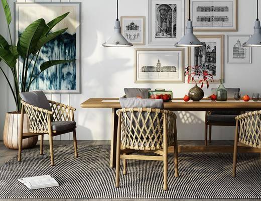 餐桌, 桌椅組合, 擺件組合, 裝飾畫