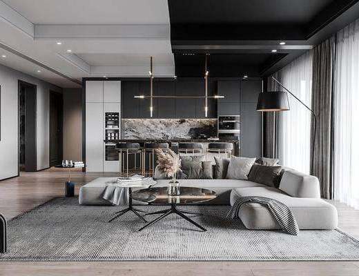 沙发组合, 茶几, 吊灯, 抱枕, 装饰画, 落地灯
