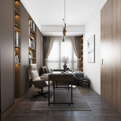 桌椅组合, 装饰画, 吊灯, 书柜, 单人床, 摆件组合