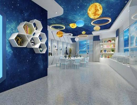 科学室, 吊灯, 墙饰, 桌椅组合, 展厅