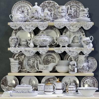 欧式, 碗, 杯, 碟, 壶, 餐具