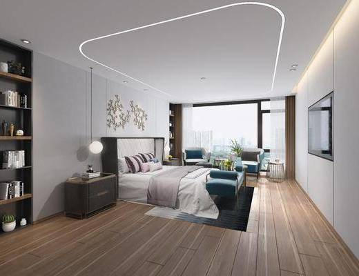 卧室, 现代卧室, 床具组合, 摆件组合, 单椅