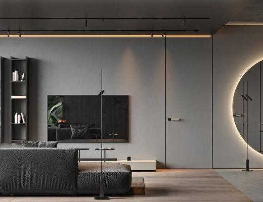 沙发, 厨具, 现代客厅
