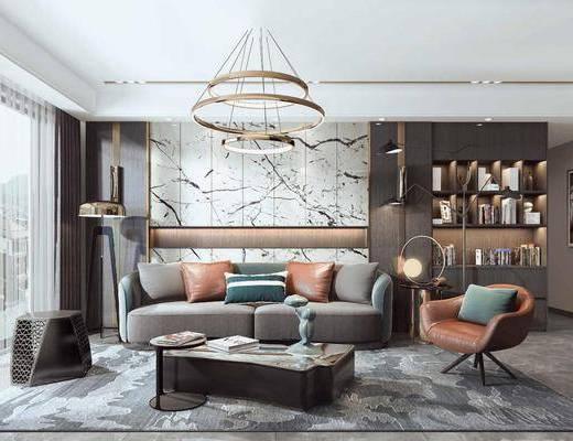 现代客厅, 客厅, 现代沙发茶几组合