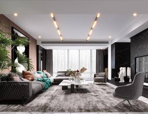 沙发组合, 茶几, 摆件组合, 装饰画