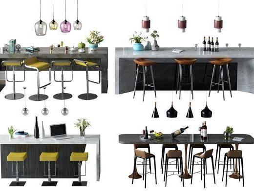 吧臺吧椅, 吊燈, 單人椅, 酒瓶, 擺件, 裝飾品, 陳設品, 花瓶花卉, 現代