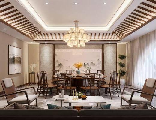 新中式, 包厢, 餐桌, 餐椅, 吊灯, 装饰画