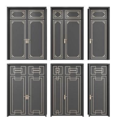 双开门, 子母门, 门组合, 单开门, 新中式