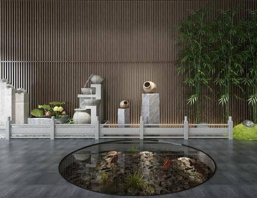 景观小品, 园艺小品, 石柱, 竹子, 中式