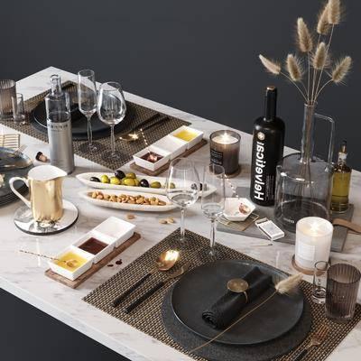 餐具, 摆件组合, 干花, 蜡烛, 食物, 后现代餐具摆件组合
