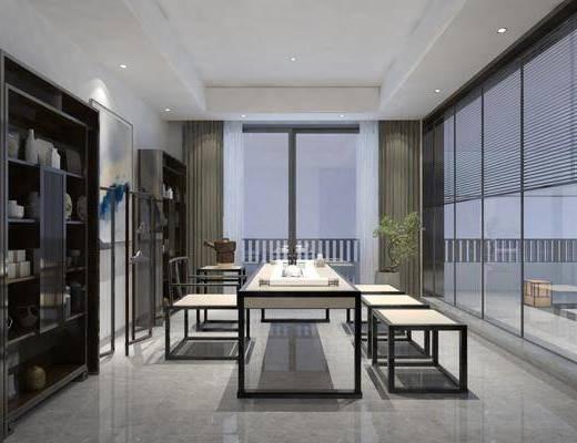 新中式, 茶室, 书房, 会客厅, 家装