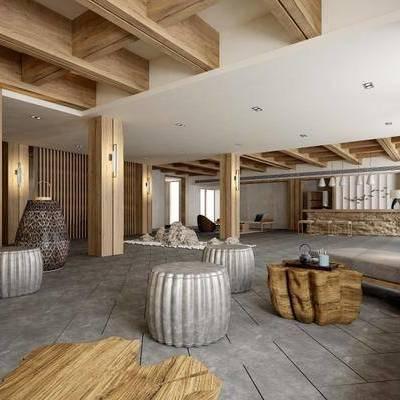 新中式, 酒店, 大堂, 接待处, 椅子茶几组合