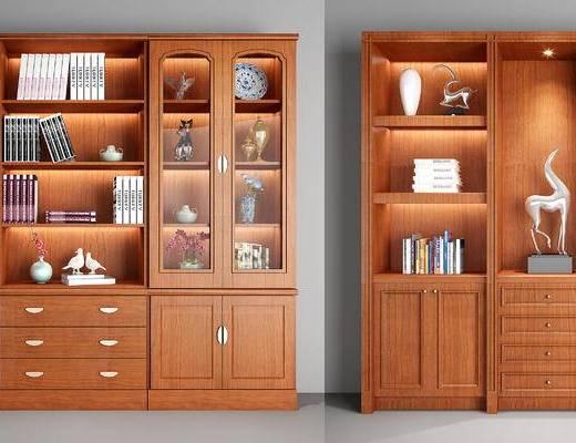 书柜, 置物柜, 装饰柜, 陈设品, 摆件, 书籍