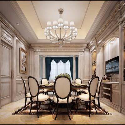 欧式餐厅, 欧式, 餐厅, 角线, 欧式吊灯, 酒柜, 欧式椅子, 餐桌, 窗帘