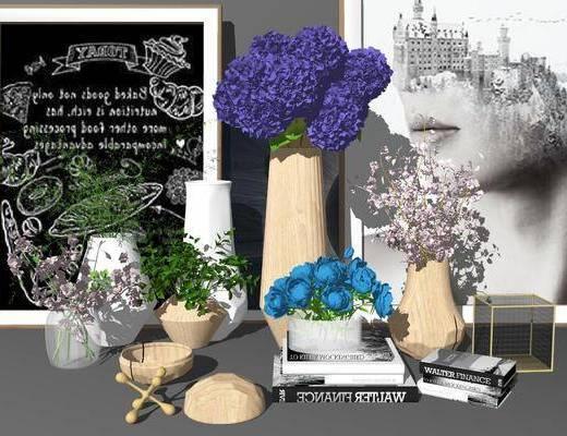 摆件组合, 花卉, 花瓶, 植物