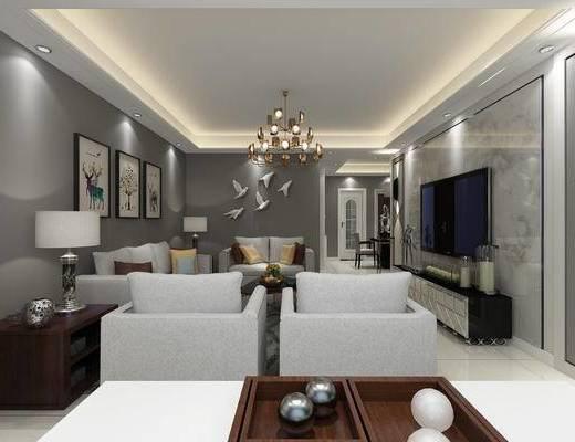 现代黑白灰, 客厅, 现代客厅, 沙发组合, 沙发茶几组合, 餐厅