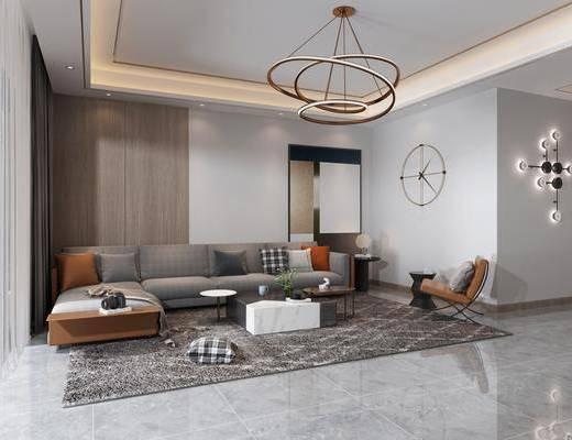 沙发组合, 茶几, 墙饰, 单椅, 地毯, 餐桌, 吊灯