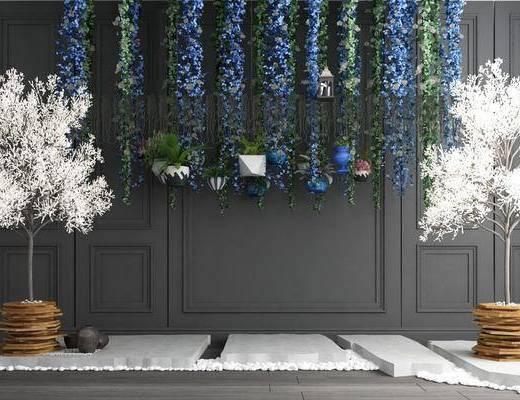 植物盆栽, 藤蔓吊籃, 吊籃組合, 樹木, 花卉, 現代