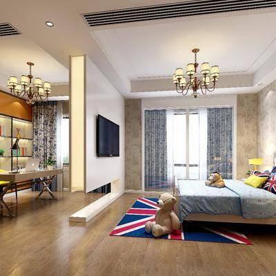 儿童房, 卧室, 床, 书桌, 桌子, 椅子, 置物架, 摆件, 床头柜, 挂画, 玩具