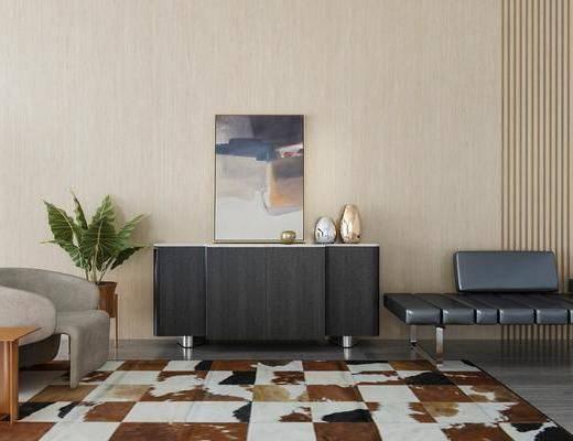 边柜, 装饰柜, 躺椅, 盆栽, 绿植, 单人沙发, 装饰画, 边几, 装饰品, 陈设品, 摆件, 现代
