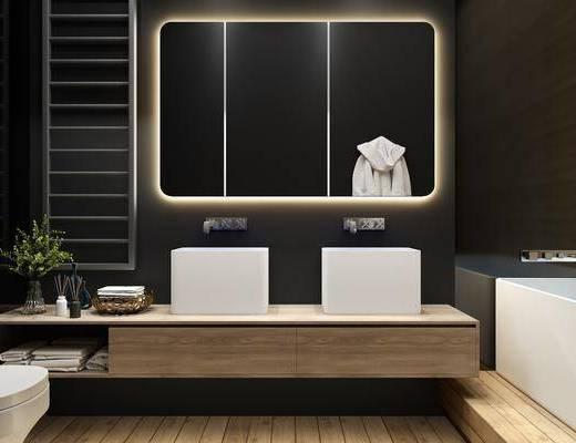 衛生間, 洗手臺組合, 裝飾鏡, 馬桶, 浴缸, 現代