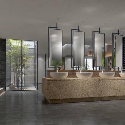 卫生间, 洗手台, 镜子, 公共卫生间, 便器