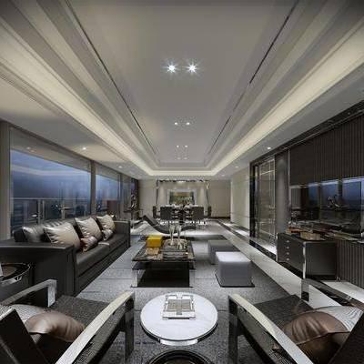 客厅, 多人沙发, 单人沙发, 茶几, 边几, 边柜, 躺椅, 摆件, 餐桌, 餐椅, 装饰品, 现代