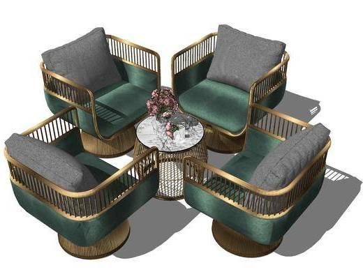 单人沙发, 单椅, 茶几, 桌花