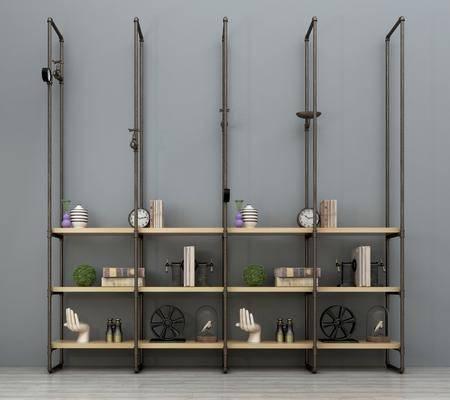 装饰架, 装饰柜, 金属装饰架, 摆件组合, 工业风