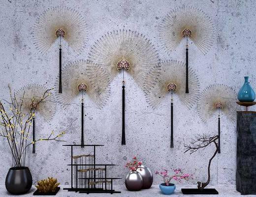 摆件组合, 墙饰组合, 装饰品, 陈设品, 新中式