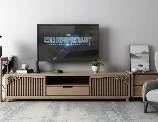 盆栽, 电视柜, 摆件组合, 单椅