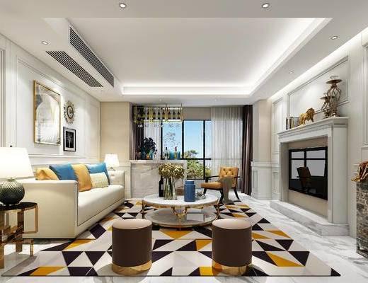 简欧客厅, 简欧, 沙发组合, 壁炉, 台灯, 空调出门口, 装饰画