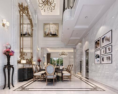 法式, 客餐厅, 家装