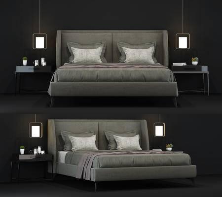床, 床品, 台灯, 床头柜, 装饰品