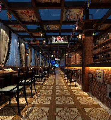 娱乐场所, 餐桌, 餐椅, 单人椅, 吧台, 吧椅, 装饰架, 置物架, 装饰品, 陈设品, 工业风