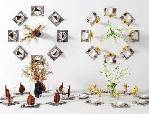 餐具, 摆件组合, 餐盘组合, 花瓶, 花卉, 现代