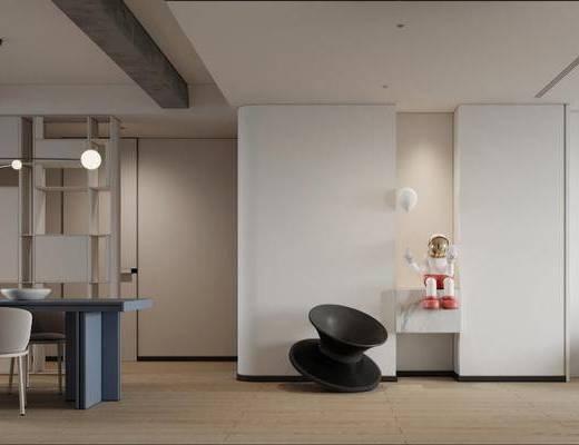 现代客餐厅, 沙发, 茶几, 餐桌椅, 摆件, 吊灯