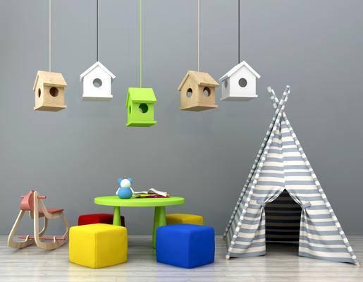 现代儿童桌椅, 儿童吊灯, 蚊帐, 玩具, 积木, 木马, 装饰品摆件