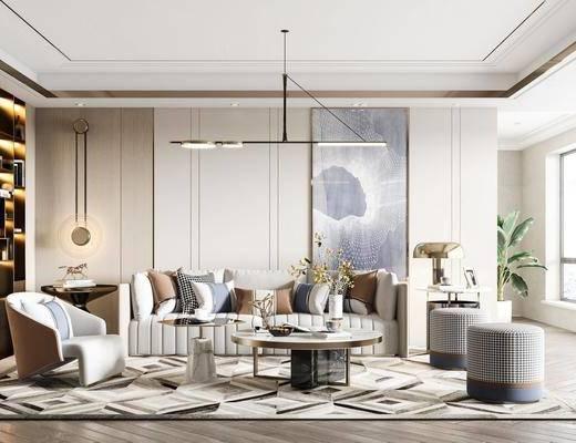 现代轻奢客厅, 沙发, 茶几, 吊灯, 墙饰