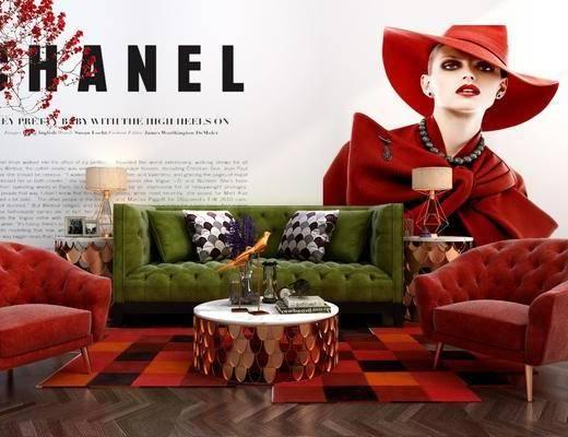沙发组合, 多人沙发, 茶几, 单人沙发, 边几, 台灯, 花卉, 现代
