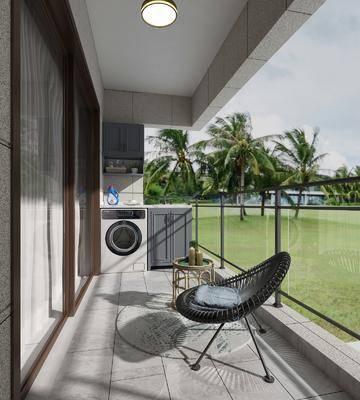 洗衣机, 柜架组合, 单椅, 植物