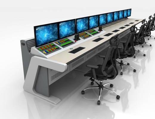 控制台, 操作台, 功能桌, 多人椅, 单人椅, 办公桌, 办公椅, 电脑, 现代
