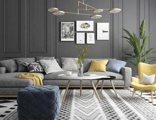 双人沙发, 转角沙发, 茶几, 单人椅, 盆栽, 绿植植物, 脚踏沙发, 吊灯, 装饰画, 挂画, 组合画, 北欧